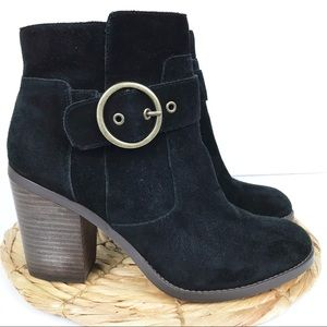 Sole Society Grove Black Suede Heeled Booties 9